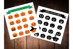 Halloween pumpkin icons. eps+jpg