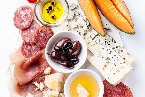 Antipasti ham, cheese, melon
