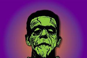 Frankenstein head, Halloween icon