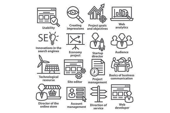Business management icons. Pack 07. - Icons