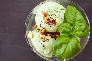 Homemade organic green ice cream