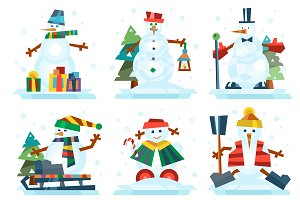 Vector cartoon snowman set