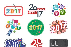 Happy new year 2017 text vector