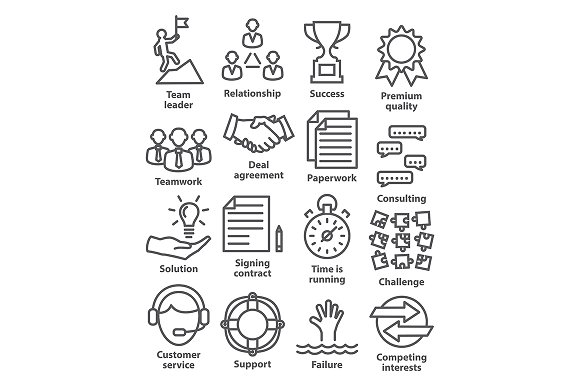 Business management icons. Pack 10. - Icons