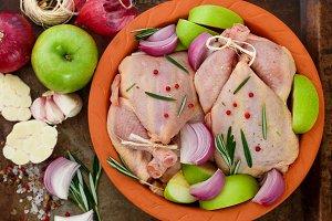 Two raw organic chicken
