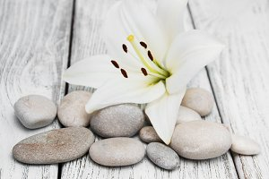 Massage stones and white lily flower