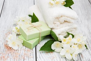 Handmade soap and jasmine flowers