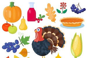 Vector icons for thanksgiving day