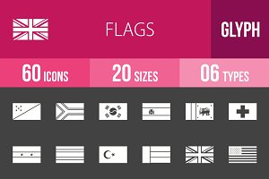 60 Flags Glyph Inverted Icons