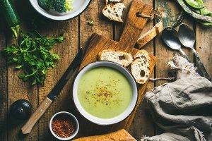 Fresh homemade zucchini cream soup