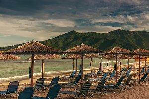 Beach bamboo umbrellas