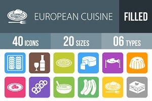 40 Cuisine Flat Round Corner Icons