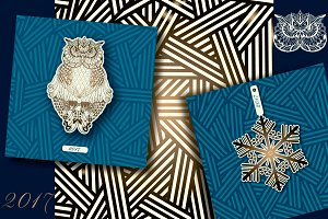 Zentangle Owl Cards, seamless patter