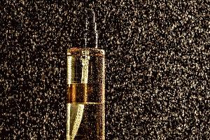 Bottle in the rain