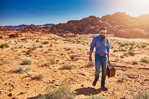 bearded guy in desert