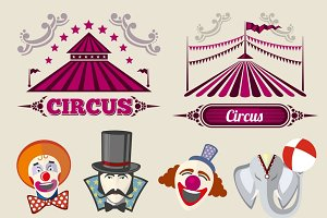 Vintage hipster circus vector set
