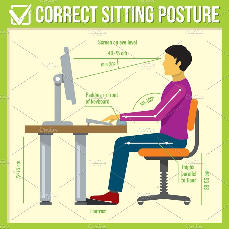 Correct Sitting Posture Illustrations Creative Market
