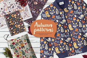 Set of 12 Seamless Autumn Patterns