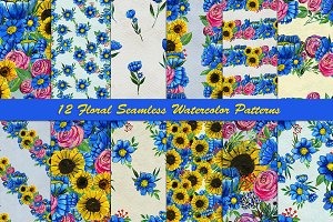 12 floral hand painted patterns