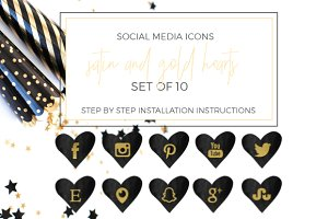 Black and Gold Foil Social Icons