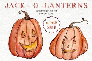Watercolor Clip Art - Jack-O-Lantern