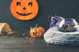 Halloween dark background with decorations