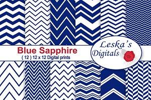 Blue Sapphire Digital Paper Chevrons