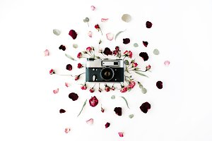 Retro camera & floral composition