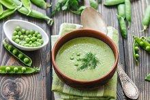 Fresh green pea soup