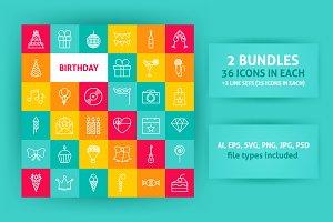 Birthday Line Art Icons