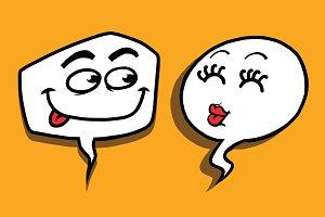 couple love cartoon bubble face