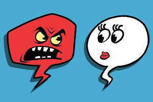 Anger comic bubble face man woman