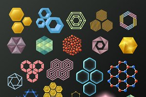 Vector linear hexagon logos