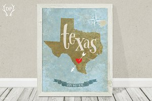 Texas state wall art printable