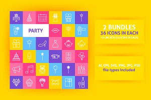 Party Line Art icons