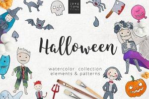 Halloween kids watercolor set