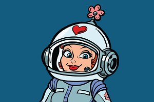 Beautiful romantic woman astronaut