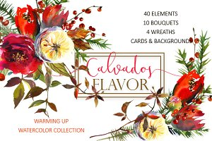 Red Winter Flowers Clipart Set