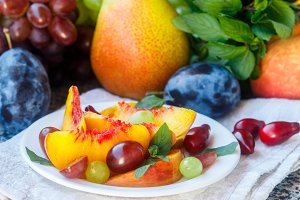 Fruit salad in white plate