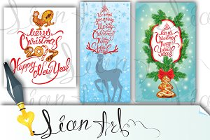 Set of 3 Merry Christmas cards