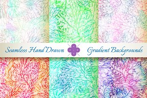 6 Seamless Gradient Florals. Set#5