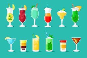 Cocktail vector flat icons