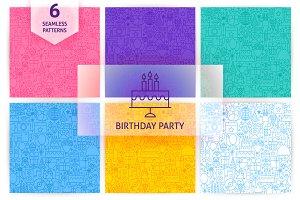 Birthday Party Line Seamless Pattern