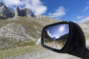 Rearview mirror landscape