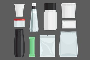 Cosmetics containers vector set