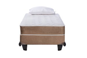 Twin bed frame with soft mattress