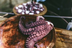 Galician style cooked octopus