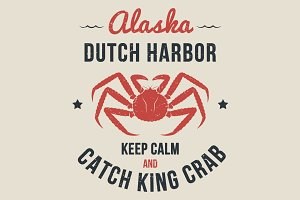 Alaska t-shirt design with king crab