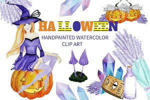 Halloween Watercolor Clipart Magic
