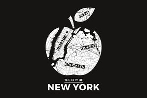 NY t-shirt design with city map